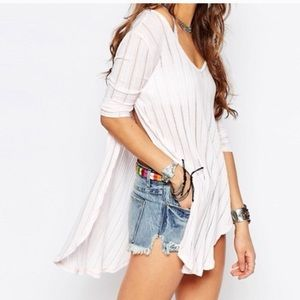 We The Free white open sides ribbed tunic